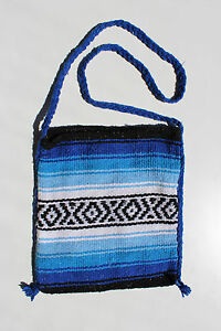 Mexican Crossbody Bag Blue,White with Black Aztec lines braided strap