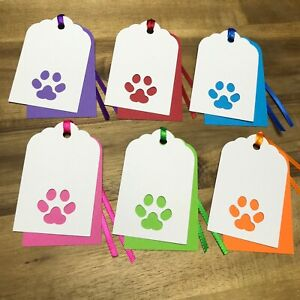 6 Handmade Pet Paw Print Double Layered Bright Coloured Gift Tags - Cat or Dog