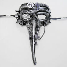 Steampunk Plague Doctor Theater Masquerade Mask for Men - Metallic Silver