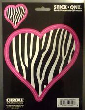 Heart w/ Zebra Stripes Bumper Decal Side or Rear Window Sticker Auto Truck 9927