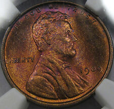 1909 Lincoln Cent Gem BU NGC MS-65 RB... Beautiful Coin with Amazing Tones, NICE