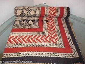 Indian Kantha Quilt Patchwork Handmade Bedspread Twin Vintage Blanket Gudari