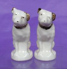 "VINTAGE RCA VICTOR NIPPER DOG SALT & PEPPER SHAKERS Brown Ears Porcelain 3.25"""