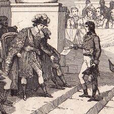 Gravure XIXe Napoléon Bonaparte reçu par le Directoire Révolution Française 1835