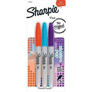 Sharpie Permanent Markers Pens - Limited Electro Pop Colours x 3 (LOOSE PACKED)