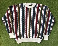 Vintage 90s STRUCTURE Cosby Style Mens Large Jumper Sweater | 3D Knit