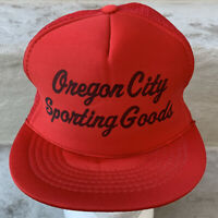 Oregon City Sporting Goods Hat Snapback Cap Trucker Red 90s Vintage