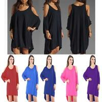 New Women's 3/4 Long Sleeve Cold Shoulder Baggy Hi low Top One Size Fit UK 8-24