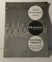 Vintage Philco Electronic Products Quick Reference data guide manual