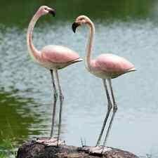 Flamboyant Flamingo Pair Garden Patio Tropical Coastal Birds Statue Sculpture