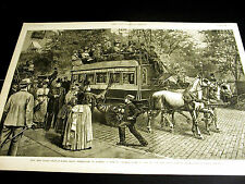 New York City CENTRAL PARK via 5th AVENUE STAGE Horse Carraige 1889 Large Print