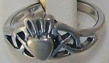 NEW 925 silver claddagh ring celtic solid back,3.7 gram