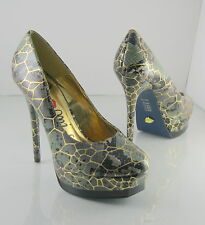 """Promise/Gold 5""""High Stiletto Heel Round Toe 1.5""""Platform Sexy Shoes Size 7.5"""