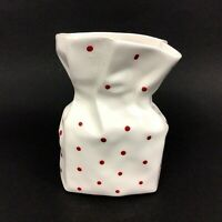Lefton Polka Dot Ceramic Bag Planter Vase Vintage 1985 White Red 5.5 Inches