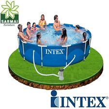 INTEX PISCINA FUORI TERRA FRAME ROTONDA TONDA CM 366X76 CON POMPA FILTRO CARTONE