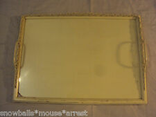 vintage, glass-top serving tray breakfast tray original yellow paint shabby chic