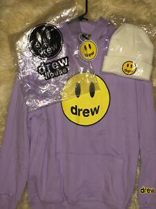 NEW Drew House Hoodie Medium Lavender Sweatshirt + White Beanie Hat