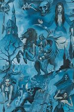 Midnight Shadows Vampire Zombies Alexander Henry Cotton Quilt Fabric 8740 A Blue