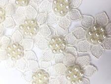 10 x Encaje Flor con perla TEJIDO para coser adhesivo DETALLES Aplique 3d