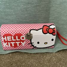 Sanrio Hello Kitty & Mimmy Collectible Tin Box Pink with Latch and Handle 8x4x3
