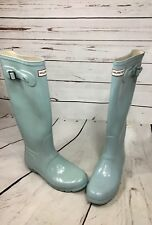 HUNTER Original Gloss Baby Blue Tall Wellies Boots Women  US 7M VINTAGE VTG
