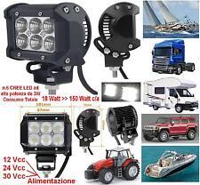 FARO MARINO ALTA POTENZA 6 LED WHITE 18W 12V e 24V IP67 BARCA CAMION AUTO CAMPER