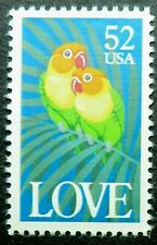 2537 MNH 1991 52c Love Series Birds Tropical Fisher's lovebirds palm fronds true