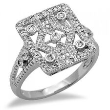 Round Diamond Right Hand Cocktail Ring Wide 14K White Gold .64C Pave