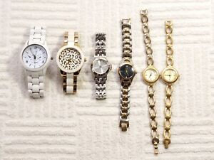 Lot of 6 Women Guess Watches Casual Dress Crystals Silver Gold Tone Bracelets