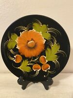 """Vintage Hand Painted Folk Art Wood Lacquered Plate 10"""""""