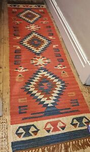 100% Wool Kilim rug 60x245cm Quality Hand Made runner Rust, Blue with Ivory