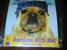HALLOWEEN ACCESSORY Bandana Hat w/Blonde Hair M-L Dogs Costume Rubies Pet Shop!