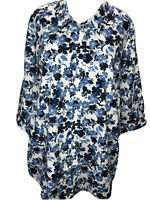 Woman Within 2X 26/28 Blue White Floral 3/4 Sleeve Top Blouse Plus Size