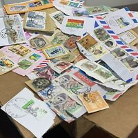 BOX LOT WORLDWIDE STAMP FROM OVER 30 WW COUNTRIES GREAT ON-PAPER COLLECTION