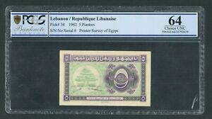 5 Piastres 1942  PCGS 64  UNC - Lebanon - Liban - Libano