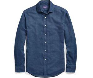 Ralph Lauren Purple Label Italy Mens Indigo Cotton Casual Chambray Dress Shirt