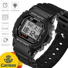 Reloj Digital Negro Hombre Deportivo Barato Impermeable LED Buceo Calendario