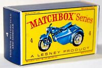 Matchbox Lesney No 4 TRIUMPH MOTORCYCLE & SIDECAR empty Repro D style Box