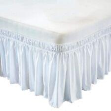 Hotel Fine Wrap Around Bed Skirt Three Side Microfiber Extra Size(White)