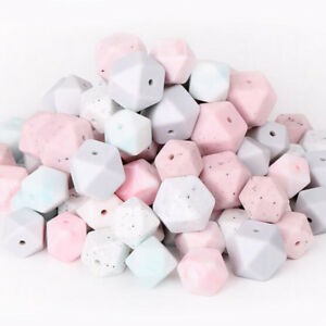 Hexagon Silicone Teething Beads Baby Chewable Teether Toys Jewelry Gift BPA Free
