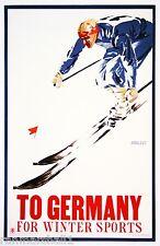 Germany for Ski Snow Winter Sports German European Travel Advertisement Poster