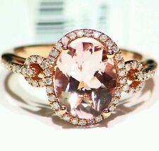 3.12CT 14K Rose Gold Natural Morganite Cut White Diamond Vintage Engagement Ring