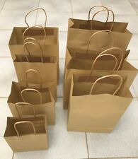 25-500 BULK BROWN KRAFT CRAFT PAPER GIFT CARRY BAGS Paper HANDLES 8 sizes
