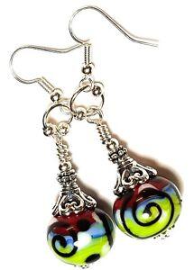 Long Silver Green Red Blue Earrings Glass Bead Drop Dangle Gypsy Chic Retro Boho