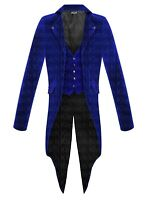 Men Steampunk Blue Tailcoat Jacket Velvet Gothic Victorian Coat VTG