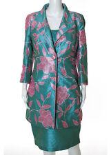 SONIA PENA Turquoise Pink Floral Print Long Blazer Sheath Dress Suit Sz 12