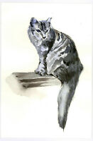 "Original Watercolor Painting 9 x 6"" Black Cat Not ACEO"