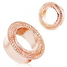 Tunnels 06mm/2 Gauge Body Jewelry Pair-Filigree Decorated Rose Gold Ear