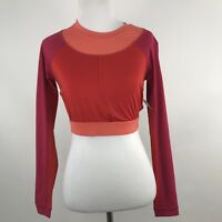 Joy Lab Pink Tri-Color Long Sleeve Crop Top w/ Cutout Back w/Logo Strap