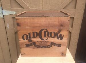 """Old Crow Whiskey Wood Box Crate Case Advertising 15""""x14""""x11"""" Distillery Liquor"""
